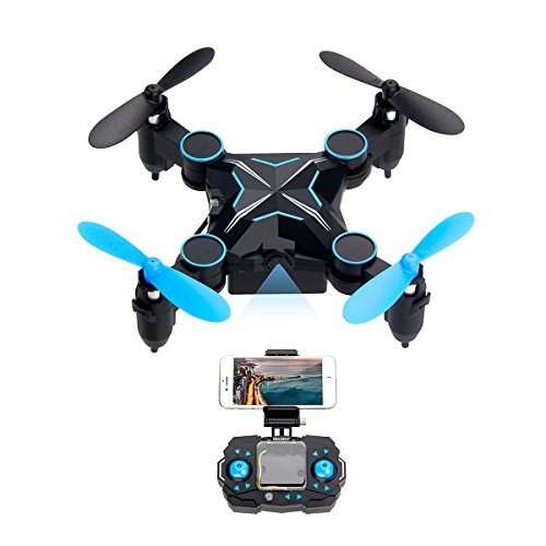 Mini Drone with HD Camera, SHIRUI H901HS Foldable Altitude Stand firm WiFi FPV 720P Camera iPhone/Android APP Remote Control Real Time Video Nano RC Quadcopter UFO RTF with Gravity Sensor & One-Key Turn & Headless Mode & 3D Flip (blau)