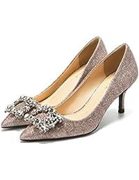 Frauen Strass Hochzeit Schuhe Shallow Pailletten Spitze Pumpen Spitzen High Heels 10/8/6 cm