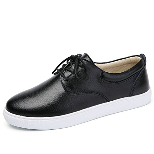 Damen Schnürhalbschuhe Flache Lederschuhe Atmungsaktiv Freizeit Gummi Sohle Modische Bequeme Weiß-Schuhe Schwarz