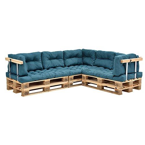 [en.casa] Euro Paletten-Sofa - DIY Möbel - Indoor Sofa mit Paletten-Kissen / Ideal für Wohnzimmer - Wintergarten (3 x Sitzauflage und 8 x Rückenkissen) Türkis (Wohnzimmer-sofa-möbel-sets)