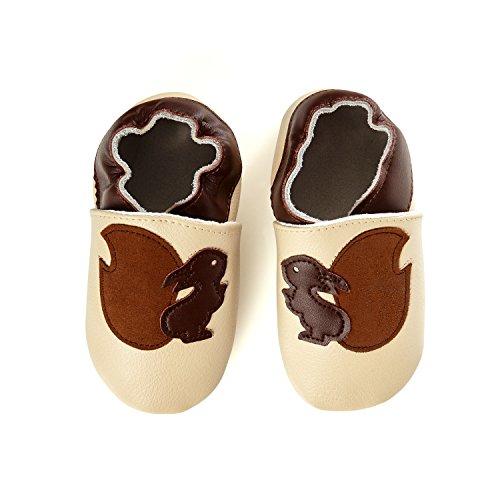SmileBaby Premium Lauflernschuhe Krabbelschuhe Babyschuhe Baby Schuhe Beige Eichhörnchen 6 bis 12 Monate (Flugzeug Winziges)