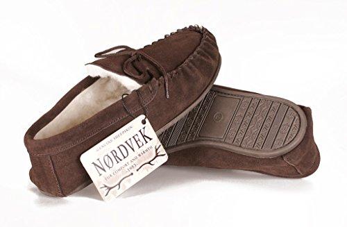 Nordvek Pantoufles style mocassins homme # 422-100 Chocolat