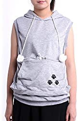 SAIANKE Ladies Sleeveless Hoodies Pet Holder Cat Dog Kangaroo Pouch Carriers Pullover