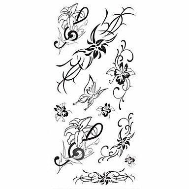 1 pc Lilie Blume Serie wasserdicht Body Art Tattoo Muster temporäre Tattoos Aufkleber (18,5 cm * (8,5 Aufkleber)