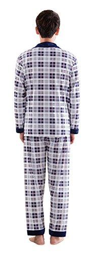 Herren Klassische Schlaf Und Entspannungsverschleiss Langes Hulsen Knopf Hemd Und Hosen Baumwoll Pyjamas Blue-2