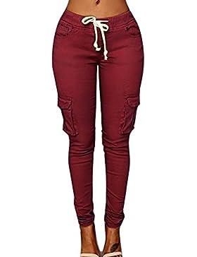 Juqilu Mujer Pantalones Lápiz - Color Sólido Cintura Elástico Leggings con Cordón Moda Cintura Media Bolsillos...