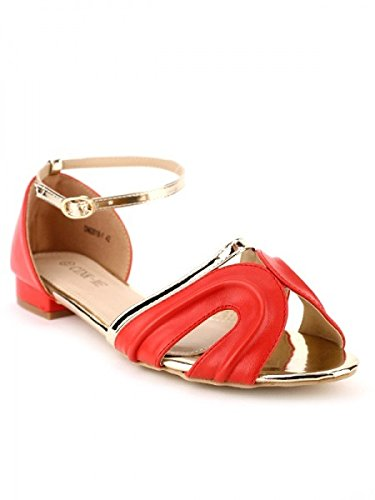Cendriyon, Sandale Rouge CAROALA Chaussures Femme Rouge