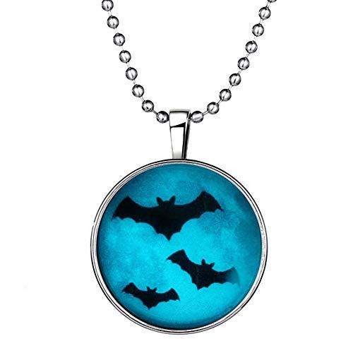 Demarkt Halloween Leuchtende Fledermäuse Halskette Kreative Leucht Anhänger Kette Halloween Anhängerketten Halloween Schmuck Geschenke