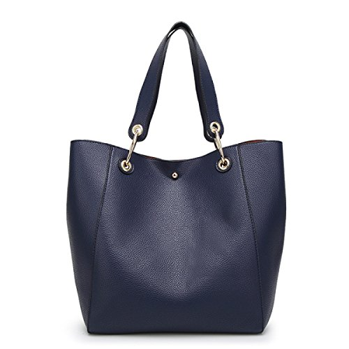 Signore PU Shopping Tote Bag Multi-color Blue