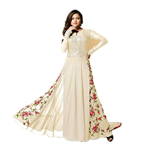 Ethnic Fashon White With Red flower Salwar Suit COLOR LATEST INDIAN DESIGNER...