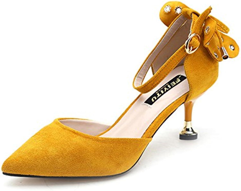 cy High Heels Bow Schnalle Pumps Pumps Side Air Schuhe Damen Cups Kitten Heels