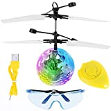 Anpro RC Fliegender Ball, Kinder Fliegendes Spielzeug mit Drahtlose Fernbedienung und Brille, Flugzeug Hubchrauber mit bunter LED Leuchtung LED Blitzen Licht, ideales Geschenk für Kinder Jungen