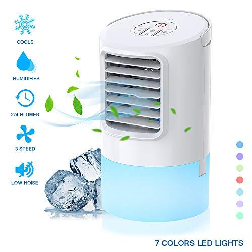 Nobebird Luftkühler mit Wasserkühlung Mobile Klimageräte leise tragbare Tischventilator mit zeitgesteuerte Funktion/Luftbefeuchter Luftreiniger/Drei Windstärken/7 Farblichter