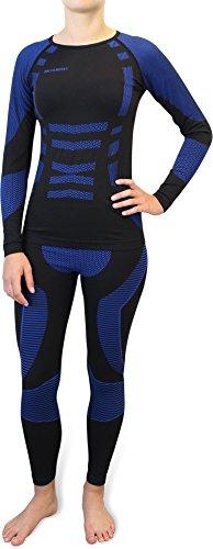 Damen Set Funktionsunterwäsche Polar Husky Thermoaktiv Atmungsaktiv Skiunterwäsche - Ski - Snowboard - Langlauf Farbe SAR / Blau Größe S/M
