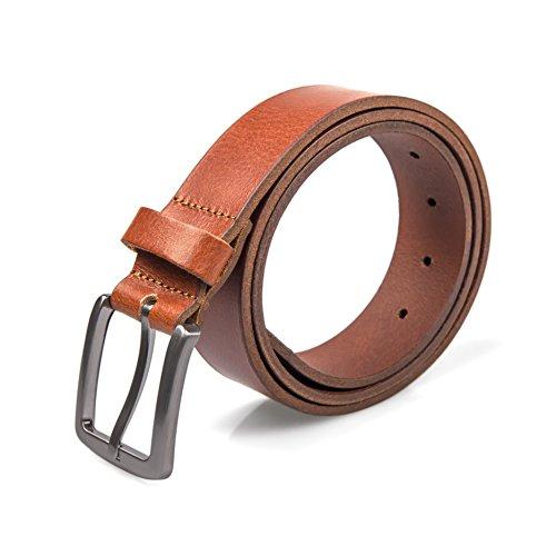 Herren Gürtel Männergürtel Gürtelschnalle Jeansgürtel Belt Gurt Riemen (95 cm, Cognac) (Polizei Mädchen Outfit)