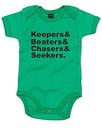 Keepers & Beaters & Chasers & Seekers, Gedruckt Baby Strampler - Grün/Schwarz 0-3 Monate