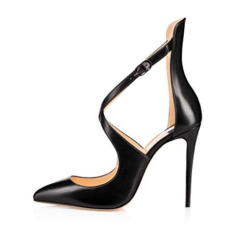 EDEFS Scarpe da Donna,Scarpe col Tacco,Classico Scarpe col Tacco Donne,Taglia Grossa Scarpe Nero 35