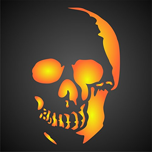Stencil Company Totenkopf-Schablone, wiederverwendbar, Halloween, Tag der Toten, für Papier, Scrapbook, Tagebuch, Wände, Böden, Textilien, Möbel, Glas, Holz usw. m (Halloween-noten Für Anfänger)
