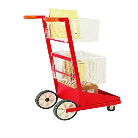 SHS Handling HG4253-2 Mailroom Trolley, Two Baskets and T-Bar Handle, 500 mm Length x 590 mm Width x 1050 mm Height