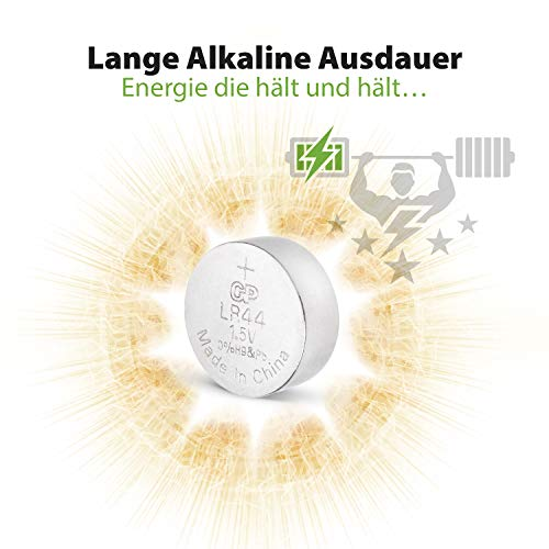 GP A76F-2C10 Knopfzellen Alkaline LR44, Batterien A76 / AG13, 1,5v (Spannung 1,5 Volt) 10 Stück Knopfbatterien im Multipack
