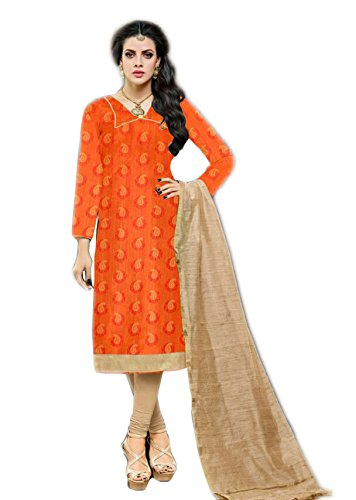Salwar Suits For Women (Manmandir's Orange Kora Silk Dress Material)