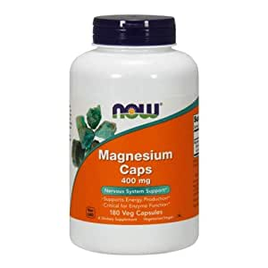 NOW Foods Magnesium Capsules, 180 Capsules / 400mg (Pack of 2)