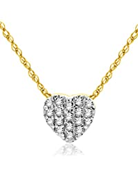 diamada – 18 Carat Yellow Gold Diamond 0.087999999999999995 Carats Necklace With Pendant 45 cm msj8005 N