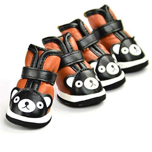 AMURAO Pet Schuhe für kleine Hunde Winter Wildleder Innere Warme Schneeschuhe Wasserdicht PU Chihuahua Outwear