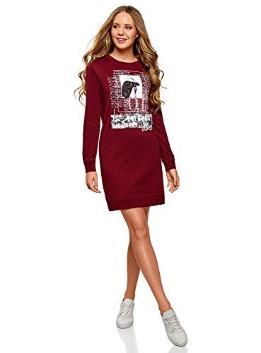 oodji Ultra Femme Robe de Sport avec Imprimé, Rouge, FR 36 / XS