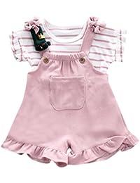 QinMM Conjunto de Camiseta y Petos Pantalón Corto a Rayas de Verano para Bebé Niñas,
