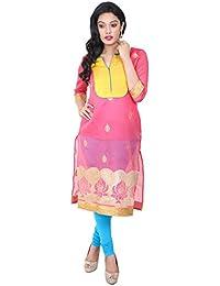 Indiwagon Art Silk Pink Color Kurti
