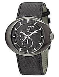 Replay RX1201DH - Reloj de caballero de cuarzo, correa de piel color negro
