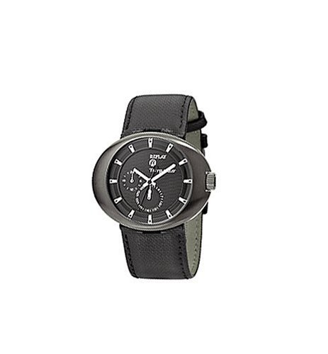 Replay Gents Black Dial Black Textured Leather Strap Watch