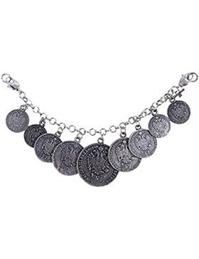 Edler Lederhosen-Charivari mit traditionellen Münzen - Top-Qualität - Farbe Altsilber