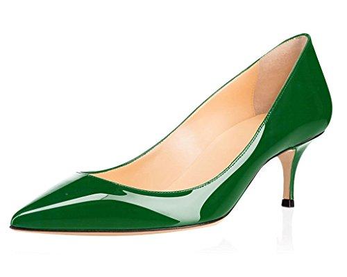 elashe Damen Kitten Mid Heel Pumps |6.5cm Spitze Zehen Büro Fersen | Geschlossen Pumps Grün EU39 (Mid-heel Leder-einlegesohlen)