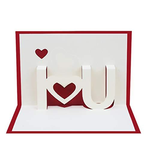 LANDUM 3D I Love You Pop up Grußkarten Happy Birthday Lover Valentinstag Jahrestag, Papier, rot, 10x15cm/3.94x5.91in