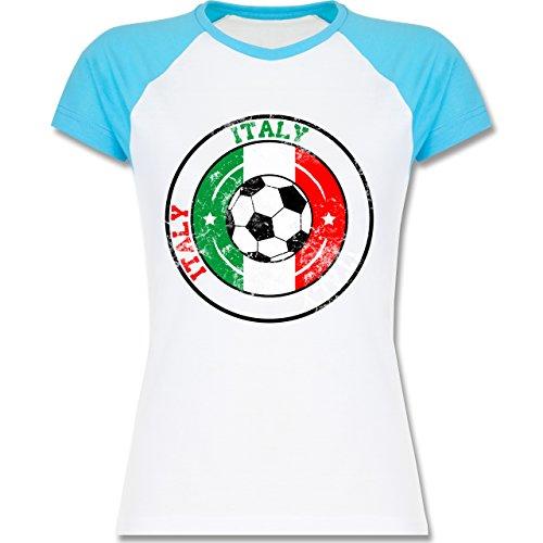 EM 2016 - Frankreich - Italy Kreis & Fußball Vintage - zweifarbiges Baseballshirt / Raglan T-Shirt für Damen Weiß/Türkis