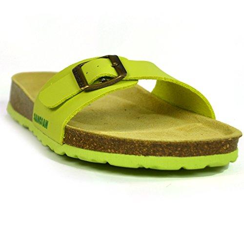 Sandales tongs à bout ouvert Malaga sanosan Étui à rabat pour femme New Sangle réglable Vert - Citron vert