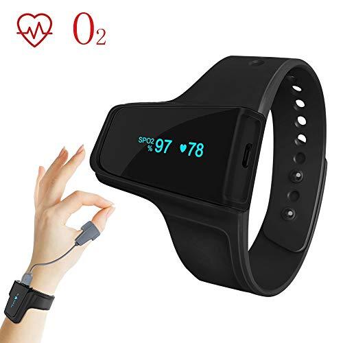 Bearsb Schlaf-Sauerstoffmonitor Vibrationsalarm für Schnarch-Apnoe Bluetooth-Handgelenk-Pulsoximeter Nachverfolgung von Sauerstoffsättigungspegel