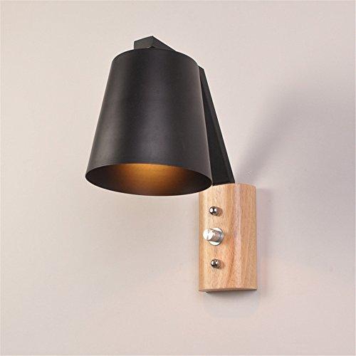 E27 Modern Creative Wood Base Metall Wandleuchte LED Mauer Lampe Licht Schalter Home Dekoration innen Wandlampen,Black -