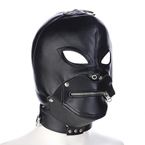 SLH Halloween Devil Head Set Juego de Vestir Pareja con Cremallera Seleccionar Cuero Pareja Flirtear Máscara Encuadernación Pasión