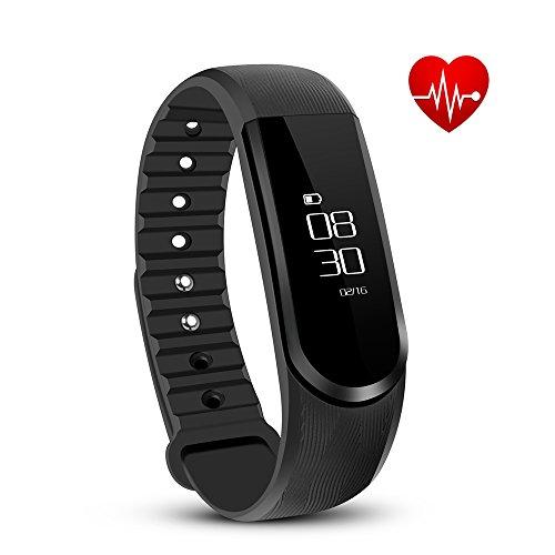 Tonbux Fitness Tracker ID101 HR Sport Armbanduhr Fitnessarmband Smart Bracelet Smartwatch für Android und iOS Smartphone(Schwarz)