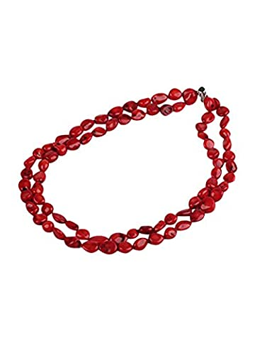 TreasureBay Beautiful Double-strand Red Coral Necklace 19