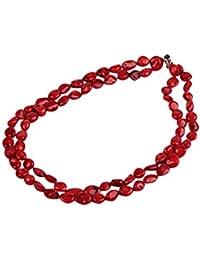 Doble hebra TreasureBay hermoso Coral rojo collar 48,26 cm/48 cm - presentado en una bonita caja de regalo