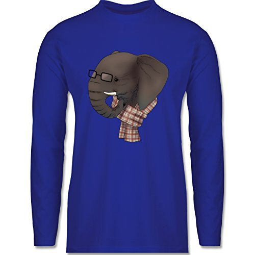 Shirtracer Hipster - Hipster Elefant - Herren Langarmshirt Royalblau