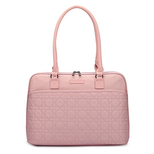 CoolBELL 15.6 Inch Laptop Tote Bag Women Handbag Nylon Briefcase Classic Shoulder Bag For Laptop / Ultra-book / Macbook / Tablet / (Rose Gold)