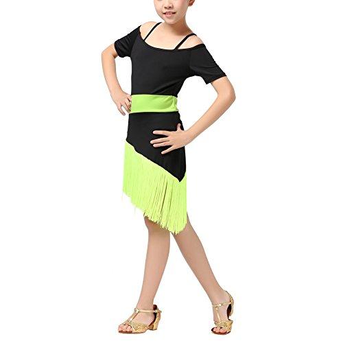 Beschreibung Kostüm Salsa (Hougood Kinder Mädchen Latin Dance Kleid Quaste Bühnenshow Wettbewerb Ballroom Dance Kostüm Latin Salsa Tango)