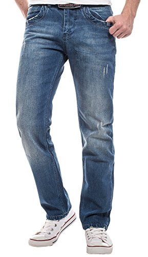 Lorenzo Loren Herren Jeans Hose Blau Designer Clubwear Vintage Destroyed W30- W44 LL-2520 W40 L38 (Designer Vintage Cut Jeans-jeans)