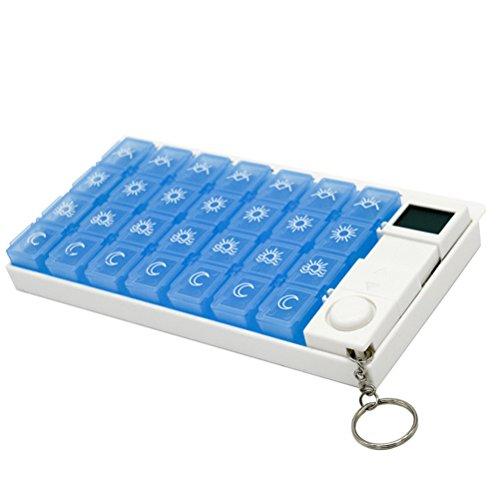 OUNONA Pillenbox mit Alarm 7 Tage 28 Fächer Pillendose Automatisch