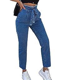 Donna A Vita Alta Larghi Elastico Skinny Jeans Pantaloni in Denim  Lunghi 0ae92bc6b8c